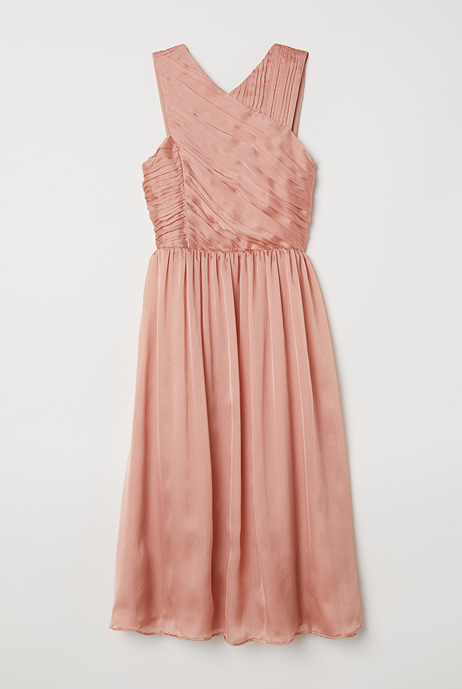 Bridesmaids Dress Apricot Draped Dress