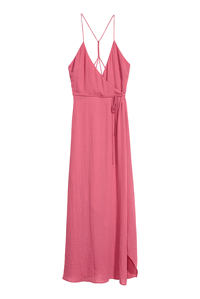 Bridesmaids Dress Long Pink Wrap Dress