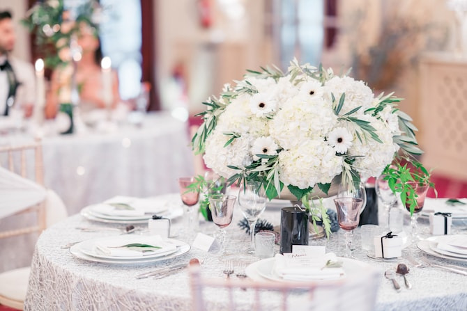 Wedding Reception in Mayfair | Modern Monochrome Style in Mayfair