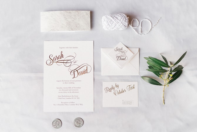 Neutral wedding stationery | Modern Monochrome Style in Mayfair