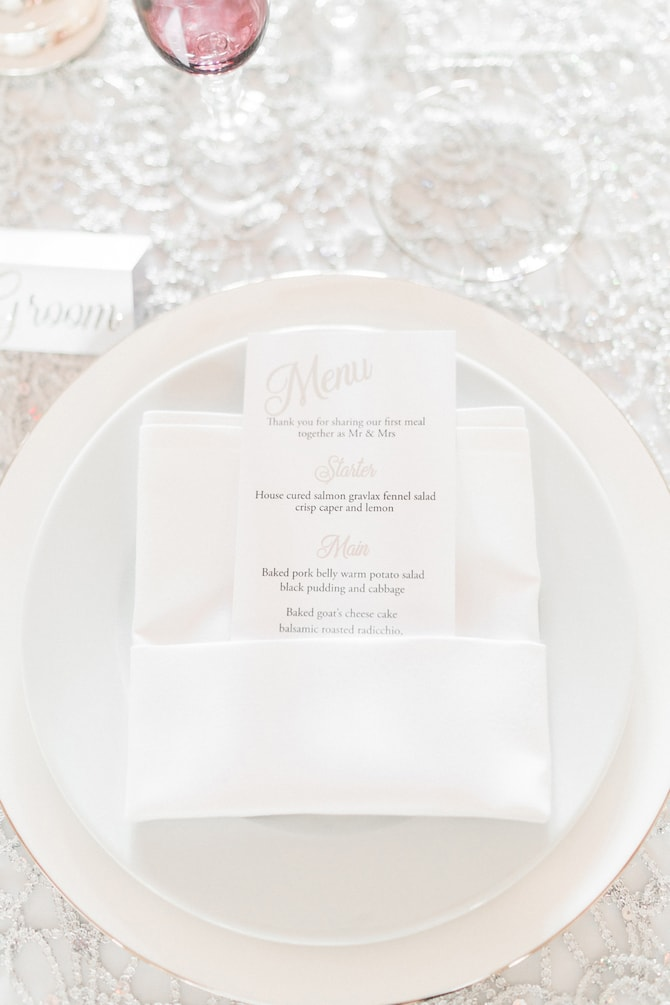 Wedding Dinner Menu | Modern Monochrome Style in Mayfair