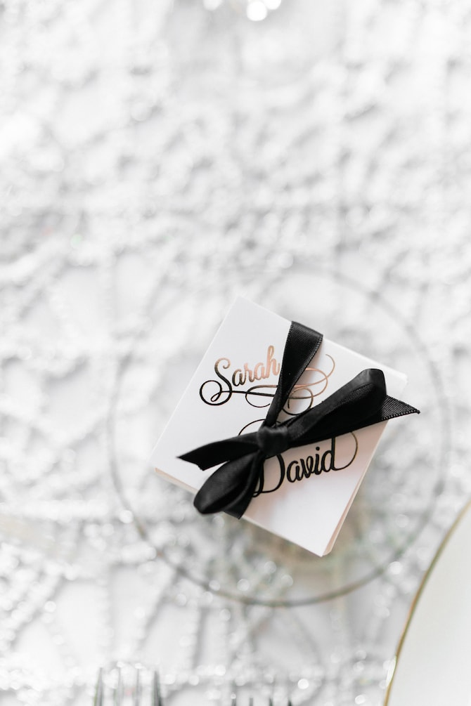 Favour boxes | Modern Monochrome Style in Mayfair