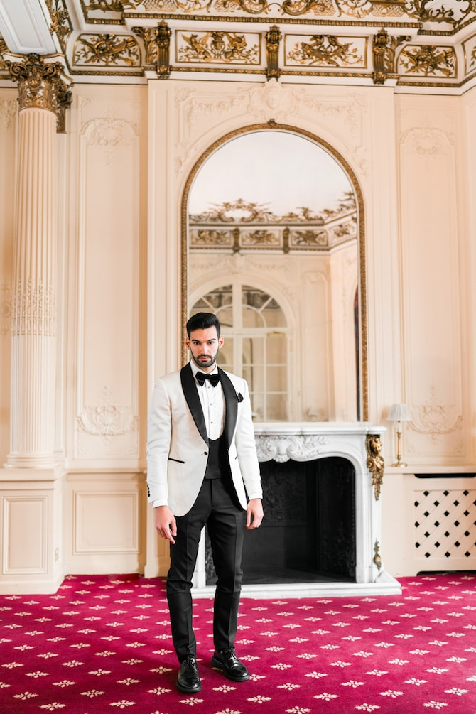 Groom in white and black suit | Modern Monochrome Style in Mayfair