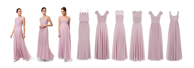 Pretty pale pink dresses from Motee Maids