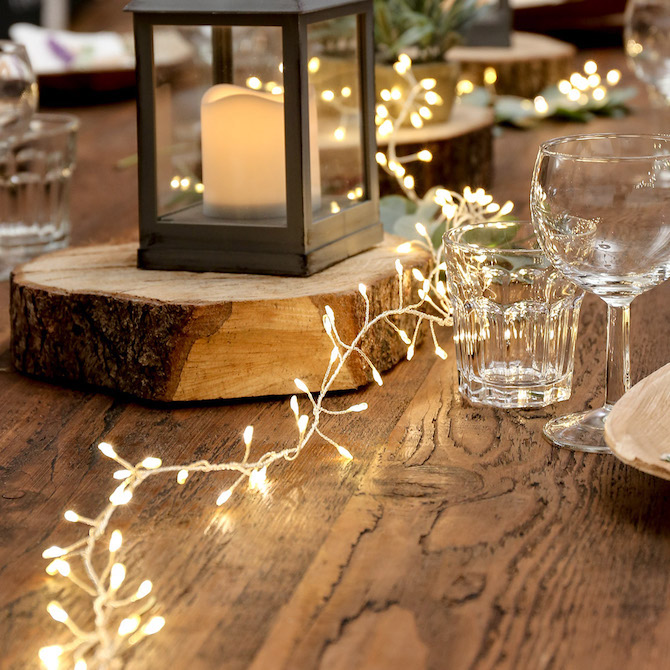 String LED Lights across table at wedding