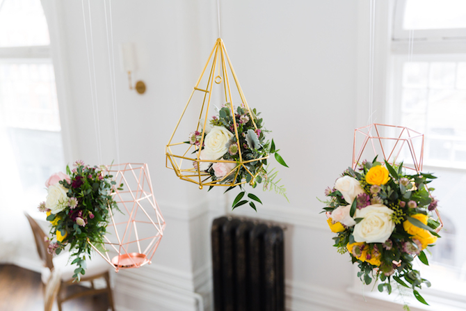 Gold geometric hanging wedding decorations | Lemon Fresh Spring Wedding Styling