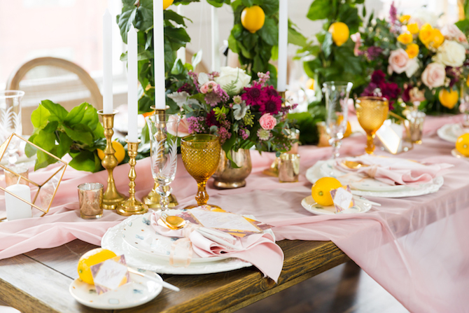 Ping and yellow wedding table