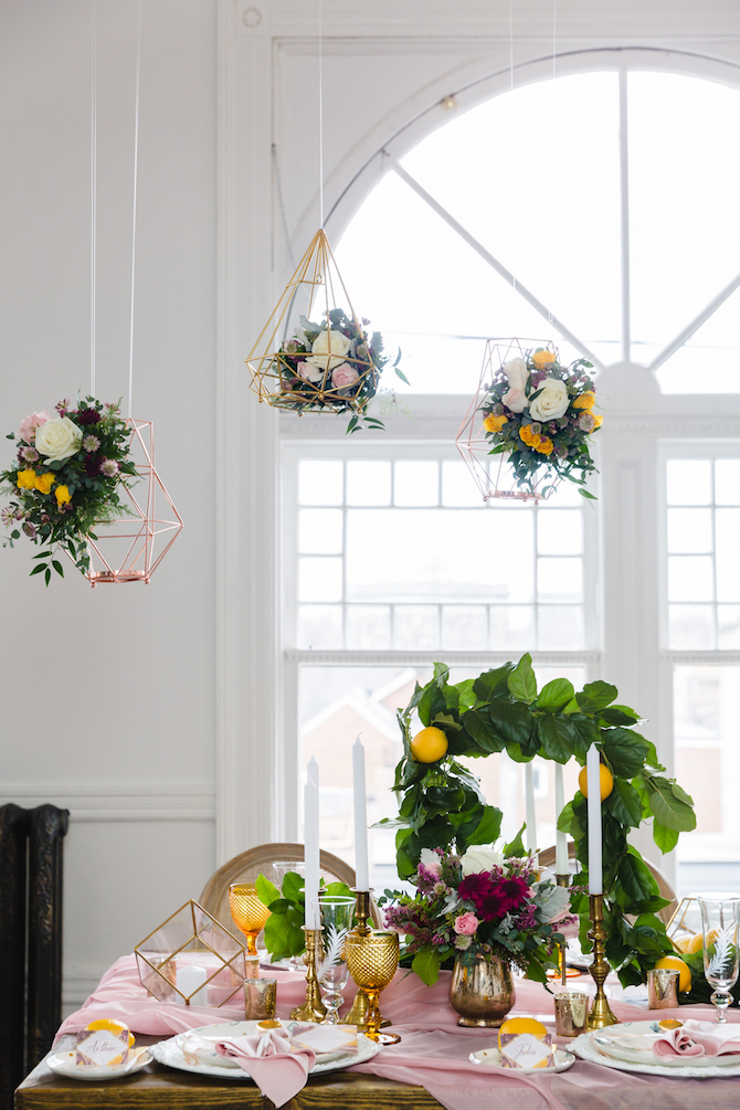 Modern hanging floral wedding decorations