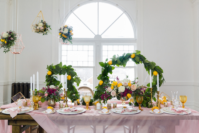 Purple and lemon wedding theme | Lemon Fresh Spring Wedding Styling
