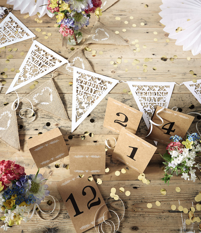Aldi Wedding Bunting and Table Numbers