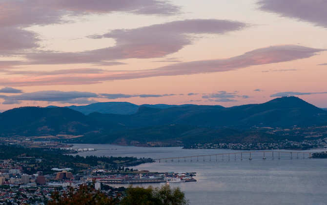 Hobart harbor during sunset panorama view towards the Tasman bridge