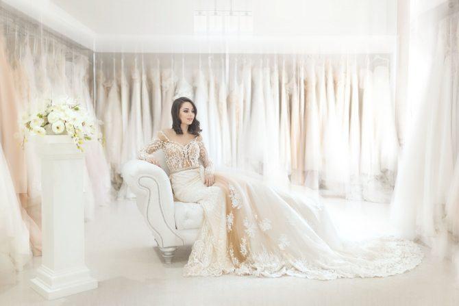 Bride in room of Dresses