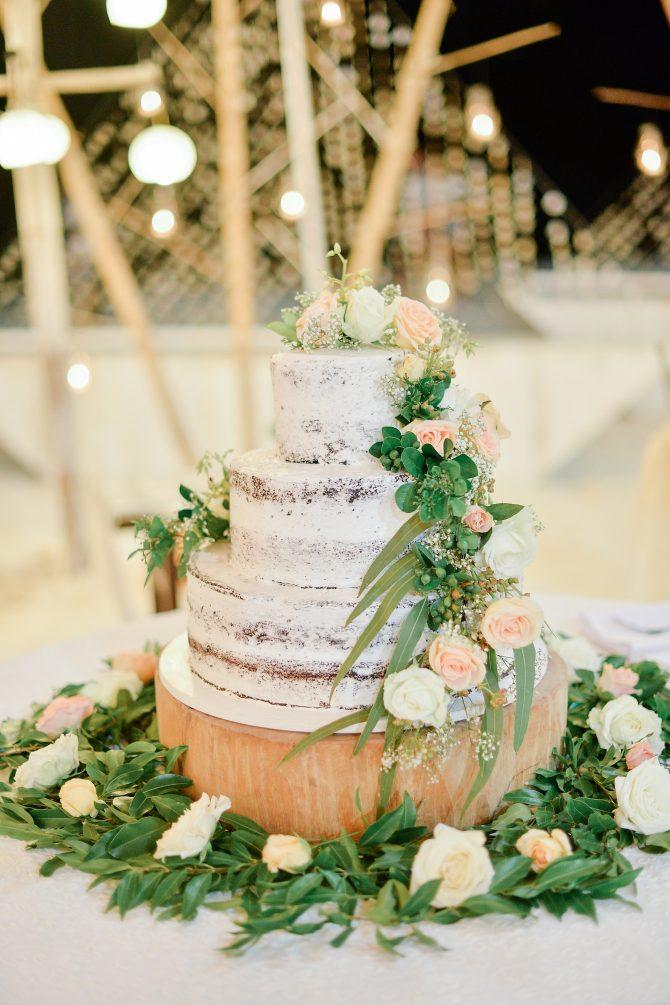 White naked wedding cake