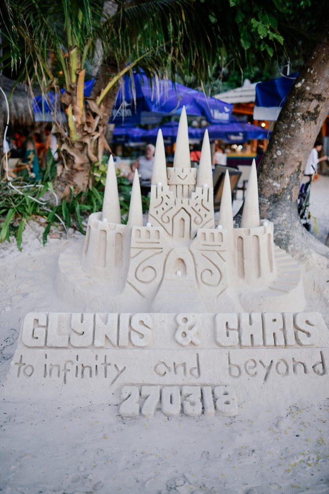 Wedding decor made out of sand