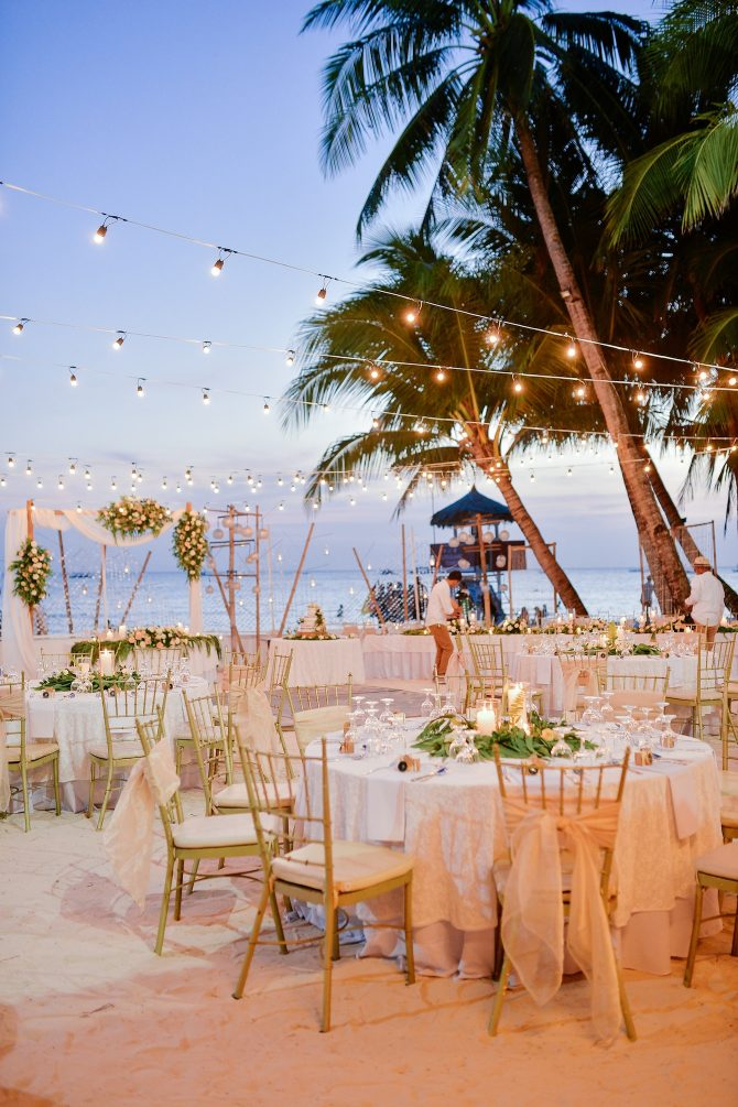 Romantic beach wedding reception
