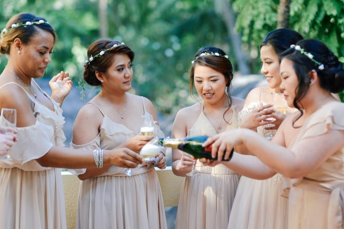 Bridal party drinks before the ceremony