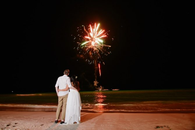 Wedding beach fireworks