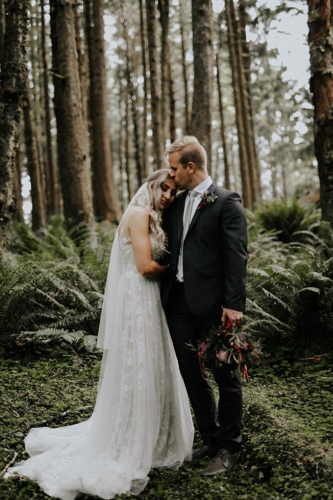 Couple at a forest wedding | Real Wedding Janay and Jono