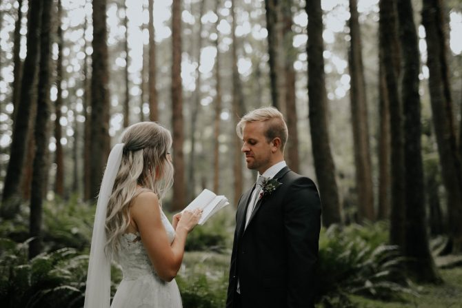 Beautiful ceremony in the forest | Real Wedding Janay and Jono