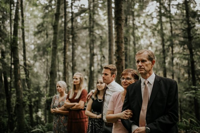 Guests at forest ceremony | Real Wedding Janay and Jono