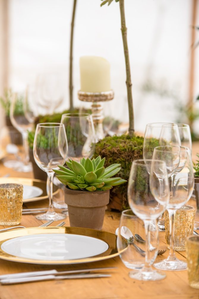 Boho green table centrepieces