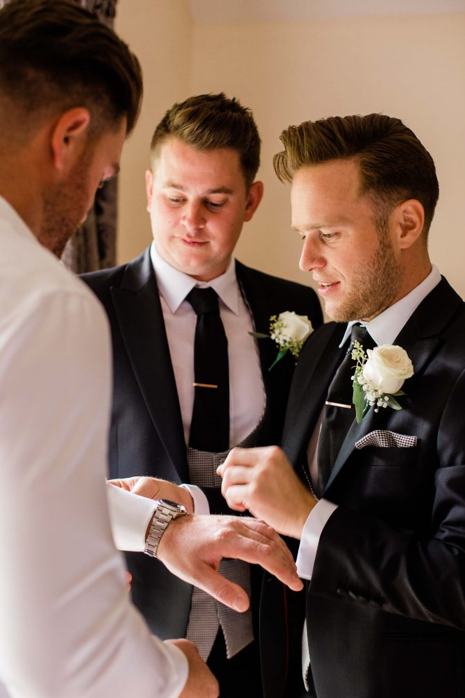 Groom getting ready with Best Man, Olly Murs