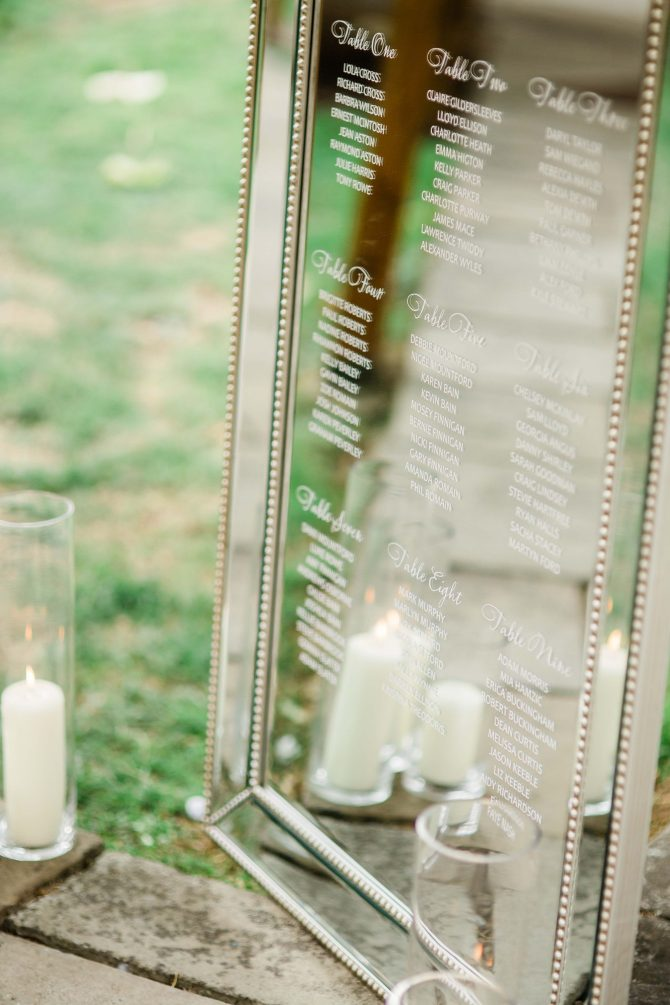 Wedding Table Plan on Mirror