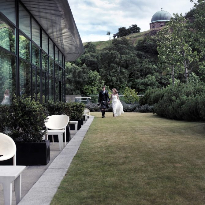 The Glasshouse Edinburgh Wedding Couple on Lawn