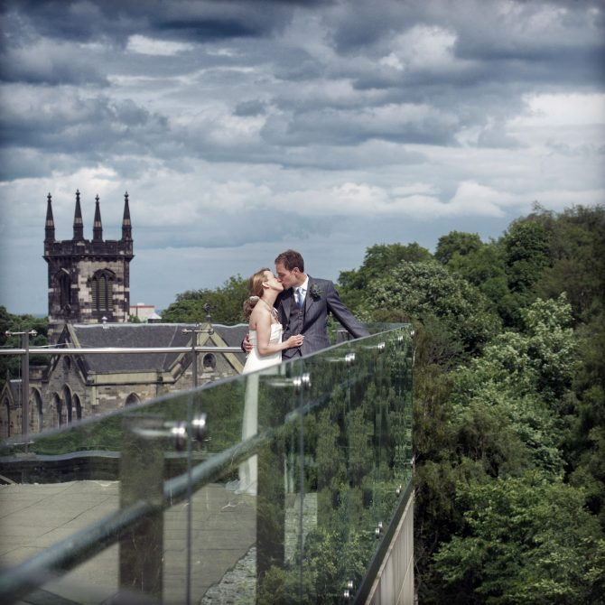 The Glasshouse Edinburgh Wedding Couple on Roof Terrace