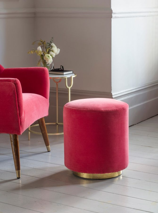 Atkin and Thyme, Carnaby Footstool In Coral Pink Velvet