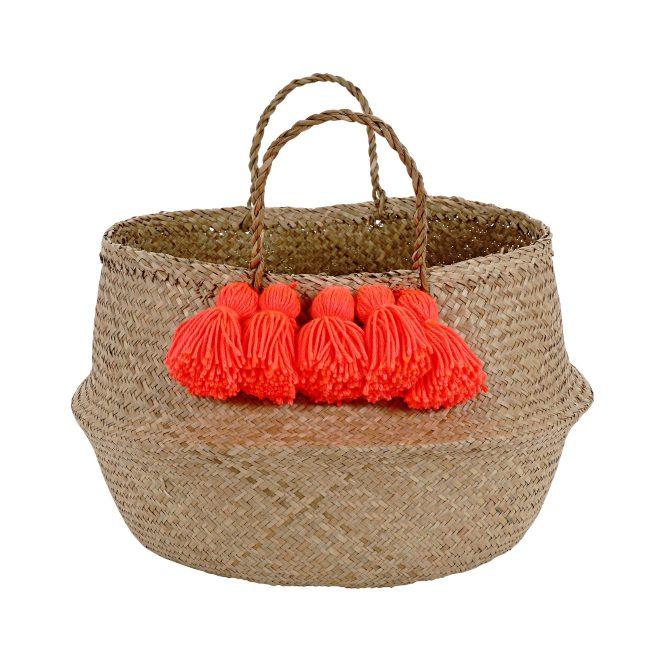 Bobby Rabbit, Neon Coral Tassel Basket