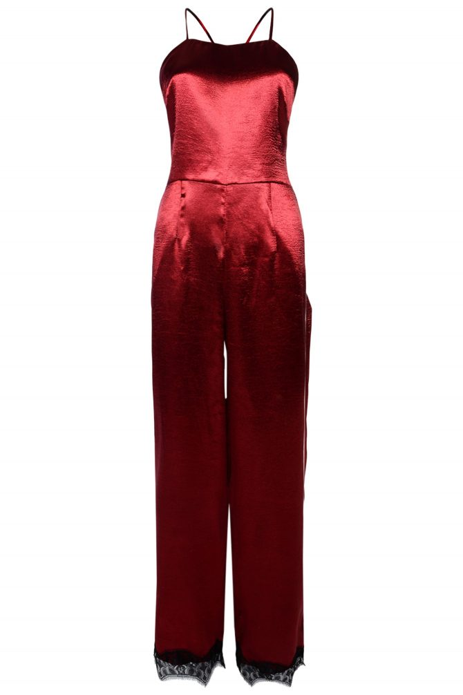 Glamorous, Red Satin Cross Back Jumpsuit