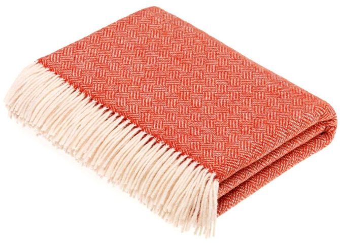 Hurn & Hurn, Bronte by Moon Merino Lambswool Parquet Throw Blanket - Coral