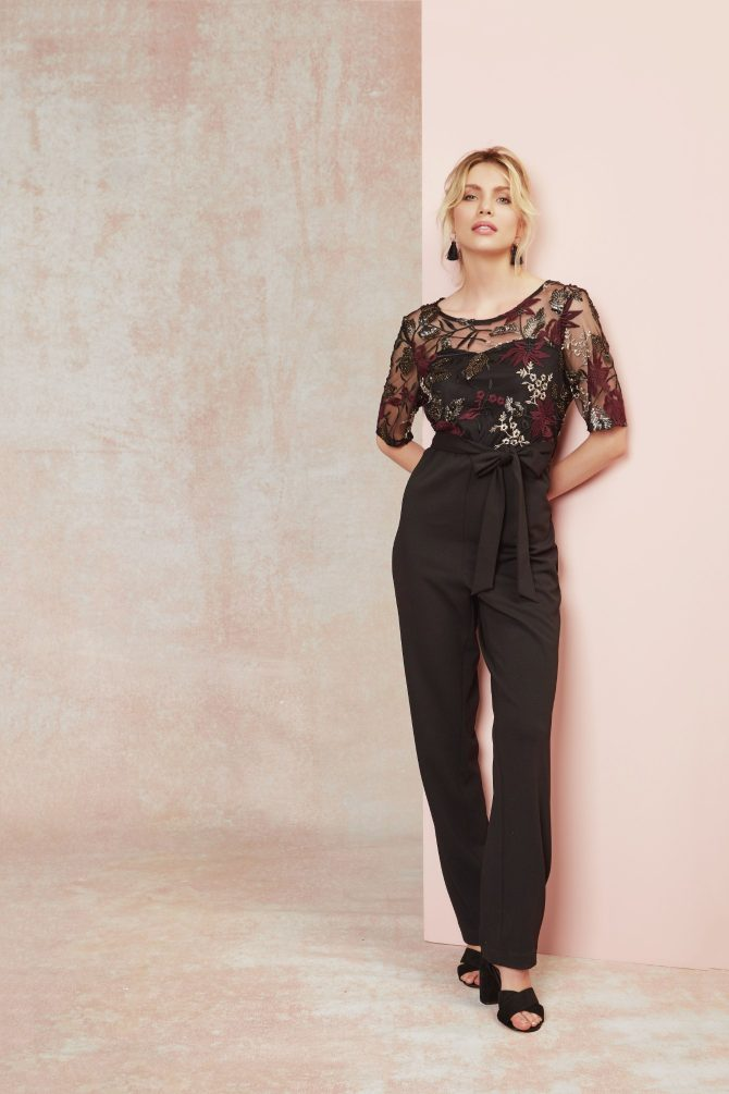M&Co, Sequin floral mesh embroidered jumpsuit
