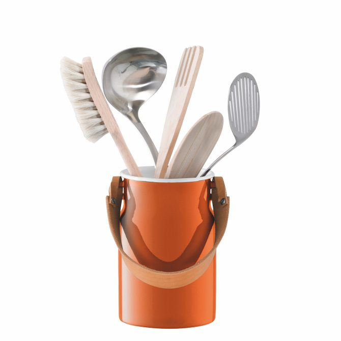 Printer + Tailor, LSA Utility Utensil Pot & Leather Handle Orange