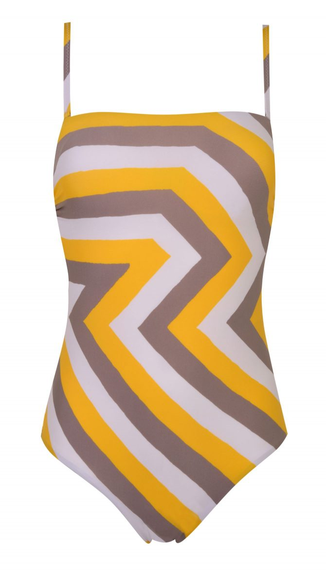 Debenhams J by Jasper Conran Yellow Zig Zag Print Padded Bandeau Swimsuit