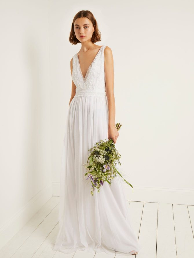 FRENCH CONNECTION ESTELLE EMBELLISHED WEDDING DRESS £225