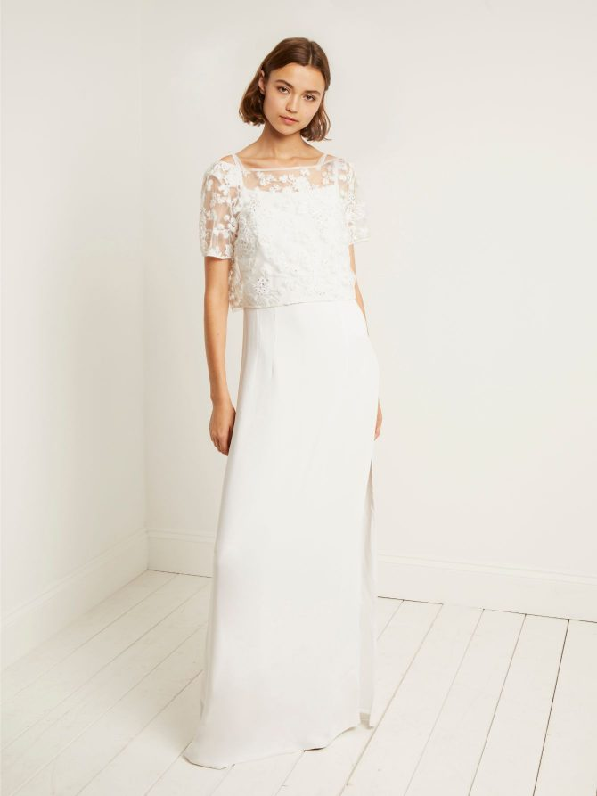 FRENCH CONNECTION ISLA EMBELLISHED COLUMN WEDDING DRESS £295